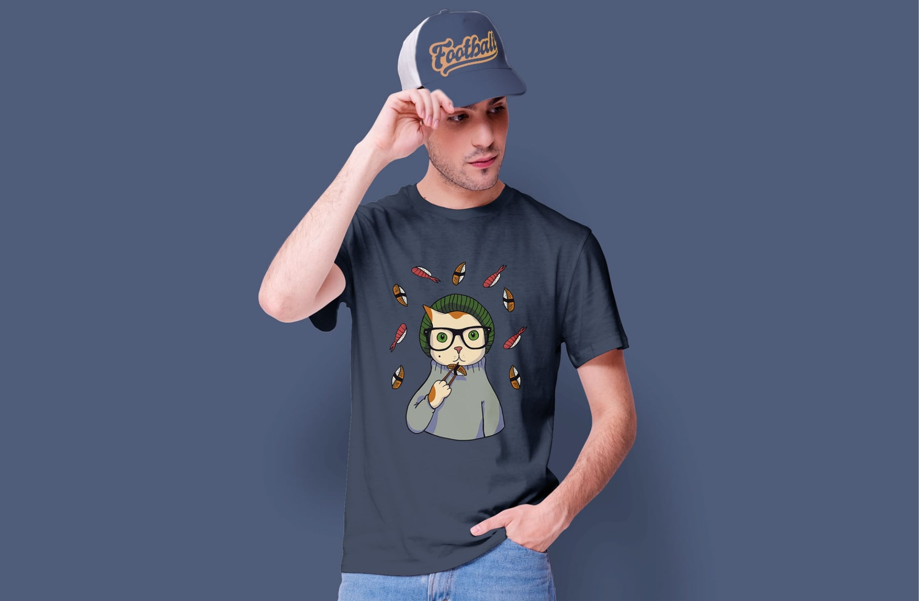 Mockup of a man with a t-shirt and cap design