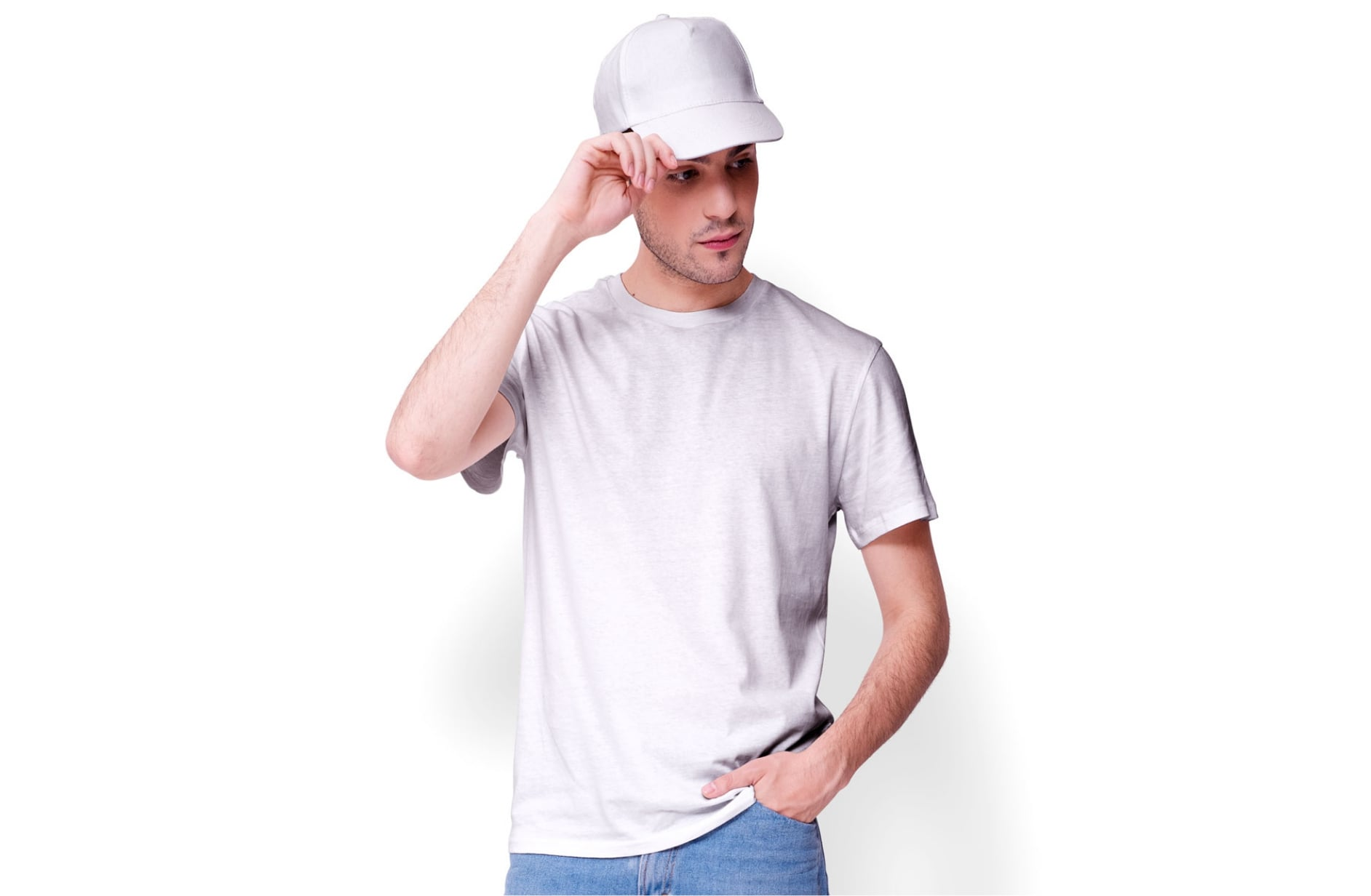 Man with a t-shirt and cap empty white mockup